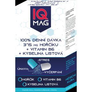 IQ MAG hořčík 375 mg   B6   kyselina listová 30 kapslí