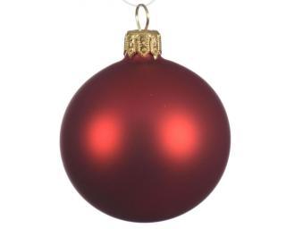 Kaemingk Set 6 ks vánočních ozdob, 7 cm, skleněné, červené, matné - rozbaleno