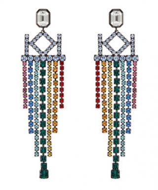 Karl Lagerfeld Luxusní náušnice s krystaly Chain Chendelier 5545048
