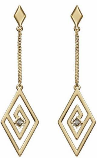 Karl Lagerfeld Luxusní pozlacené náušnice s krystaly Concentric Diamond Chain 5483677