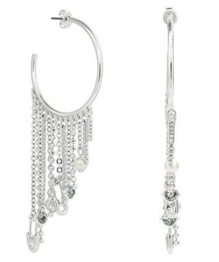 Karl Lagerfeld Luxusní půlkruhové náušnice s řetízky Safety Pin & Pearl Hoop 5420610