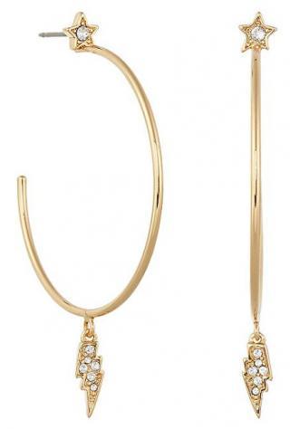 Karl Lagerfeld Pozlacené kruhové náušnice s krystaly Mini Rocky Multi-Charm Hoop 5483743