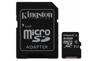 Kingston Micro SDXC Canvas Select 64GB 80MB/s UHS-I   SD adaptér  - zánovní