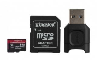 Kingston paměťová karta 64GB microSDXC React Plus SDCR2 w/Adapter   MLPM Reader