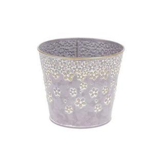 Kovový obal na květináč Daisy 14,5 x 13 cm, fialová