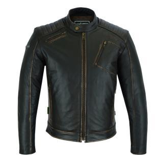 Kožená moto bunda W-TEC Embracer Vintage Dark Brown - XXL