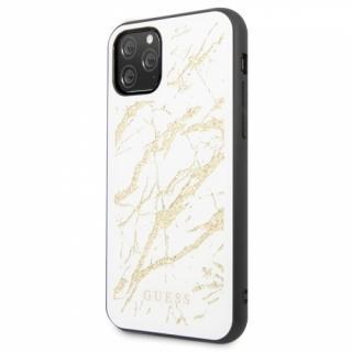 Kryt na mobil Guess Marble Glass pro iPhone 11 Pro Max bílý