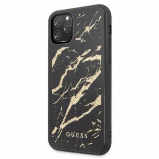 Kryt na mobil Guess Marble Glass pro iPhone 11 Pro Max černý