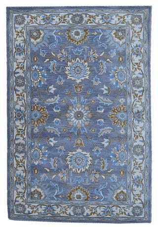 KUDOS Textiles Pvt. Ltd. Ručně všívaný vlněný koberec DO-40 - 160x230 cm Modrá