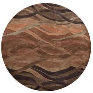 KUDOS Textiles Pvt. Ltd. Ručně všívaný vlněný koberec DO-56 - 240x240  kruh cm Hnědá