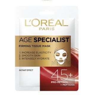 L´Oréal Paris Textilní maska pro okamžité zpevnění a vyhlazení pleti Age Specialist 45   1 ks