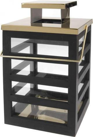 Lucerna dřevěná 18 x 18 x 30 cm černá/zlatá