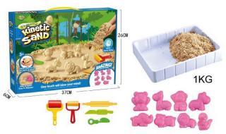 Magický písek 1kg s formičkami a doplňky v krabici 37,5x26x6,5cm