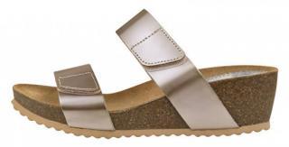 Marila Dámské kožené pantofle 5840GL/B5-28 Glass Beig Bio 500 Rulo Beig - Velikost 37