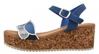 Marila Dámské kožené sandále 54083/MC-6 Ondas Azul/ Sport Electric Mc Beig - Velikost 36