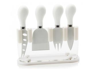 Maxwell & Williams Sada 4 nožů na sýr ve stojanu, bílé - rozbaleno