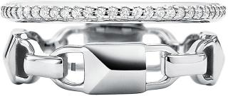 Michael Kors Moderní dvojitý stříbrný prsten MKC1025AN040 47 mm