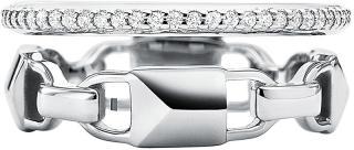 Michael Kors Moderní dvojitý stříbrný prsten MKC1025AN040 57 mm
