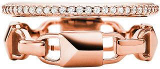 Michael Kors Moderní dvojitý stříbrný prsten MKC1025AN791 56 mm