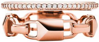 Michael Kors Moderní dvojitý stříbrný prsten MKC1025AN791 57 mm