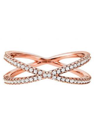 Michael Kors Třpytivý růžově zlacený prsten se zirkony MKC1112AN791 51 mm