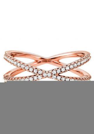 Michael Kors Třpytivý růžově zlacený prsten se zirkony MKC1112AN791 57 mm