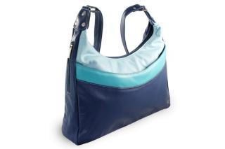 Modrá kožená dámská kabelka Gondolien