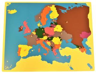 Montessori pomůcky Puzzle mapa Evropa bez rámečku - rozbaleno