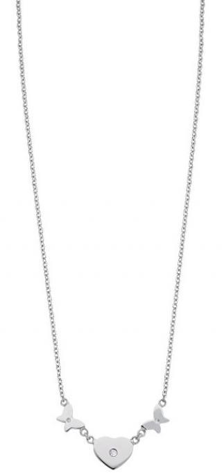 Morellato Ocelový náhrdelník se srdíčkem a motýlky Insieme SAHM05