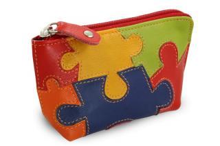 Motiv puzzle kožená zipová klíčenka Daisy