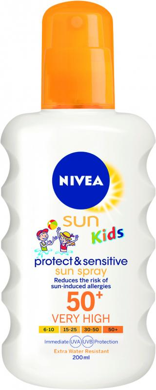 Nivea SUN Dětský sprej na opalování Sensitive OF50  200 ml