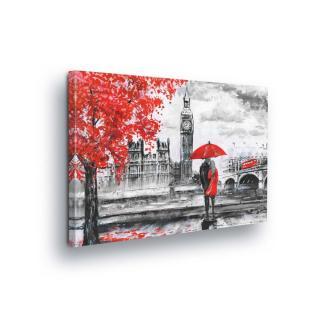 Obraz na plátně - Červeno-šedý Big Ben 70x50 cm
