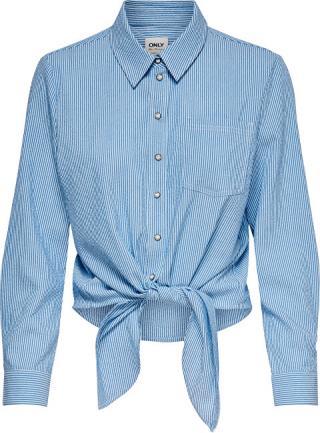 ONLY Dámská košile ONLLECEY LS STRIPE KNOT DNM SHIRT Cloud Dancer MEDIUM BLUE 34