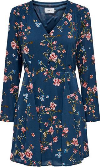 ONLY Dámské šaty ONLCLAIRE L/S SHORT DRESS WVN Dark Denim EMPOWERED FLOWER 34
