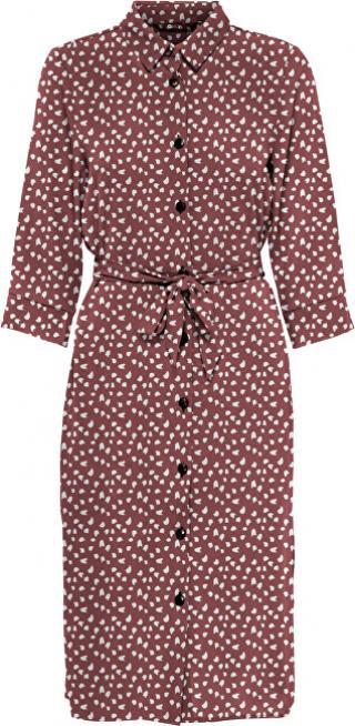 ONLY Dámské šaty ONLNOVA LONG SHIRT DRESS AOP WVN Apple Butter SPRING DOT 36