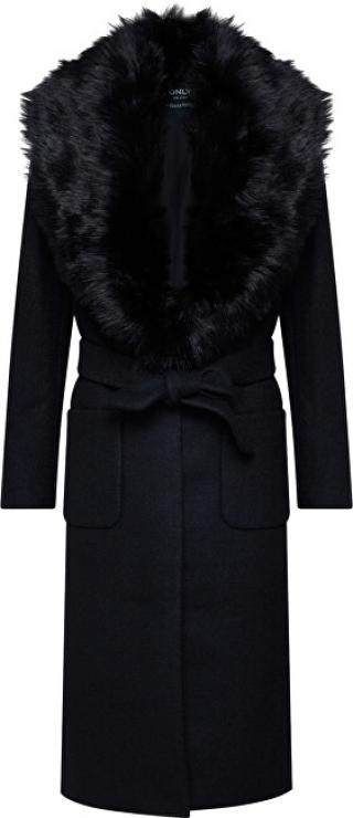 ONLY Dámský kabát ONLJOLIE LONG FUR WOOL COAT OTW Black M