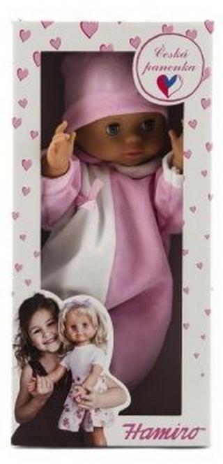 Panenka/miminko hamiro 40cm, pevné tělo overal bílorůžový   čepice…