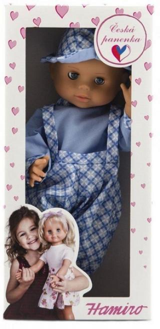 Panenka/miminko hamiro 40cm, pevné tělo sv. Modré kalhoty   košile…