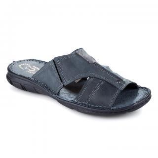 Pánské celokožené pantofle tmavě šedé vel. 46