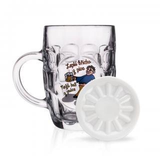 Pivní sklenice 500 ml s podtáckem