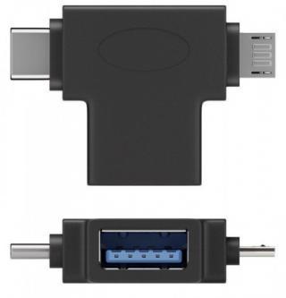 PremiumCord Adaptér USB-A na USB-C   micro USB-B, kur31-12
