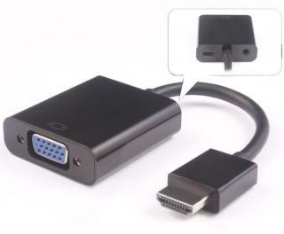 PremiumCord Převodník HDMI na VGA se zvukem 3,5mm stereo jack, černý khcon-19 - zánovní