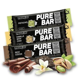 PROM-IN Essential Pure bar proteinová tyčinka vanilka s arašídy 65 g