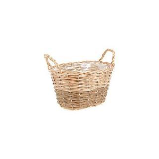 Proutěný košík, obal na květináč s fólií Gala, 20 x 12 x 14 cm
