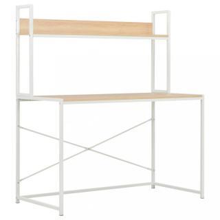 Psací stůl 120x60 cm s policí Dekorhome Bílá / dub