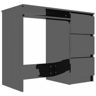Psací stůl se šuplíky 90x45 cm Dekorhome Černá lesk