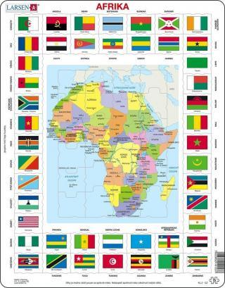 Puzzle Mapa Afriky   vlajky 70 dílků