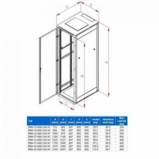 Rack Triton 19`` stojanový 15U/800x800 prosklené dveře, šedý, RMA-15-A88-CAX-A1