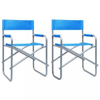Režisérské židle 2 ks ocel Dekorhome Modrá