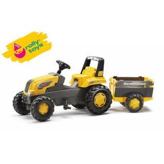 Rollytoys Šlapací traktor s Farm vlečkou Rolly Junior, žlutá